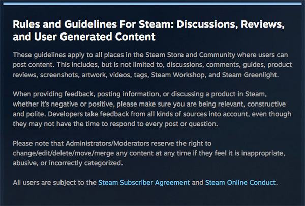 Steam Rules & Guidelines